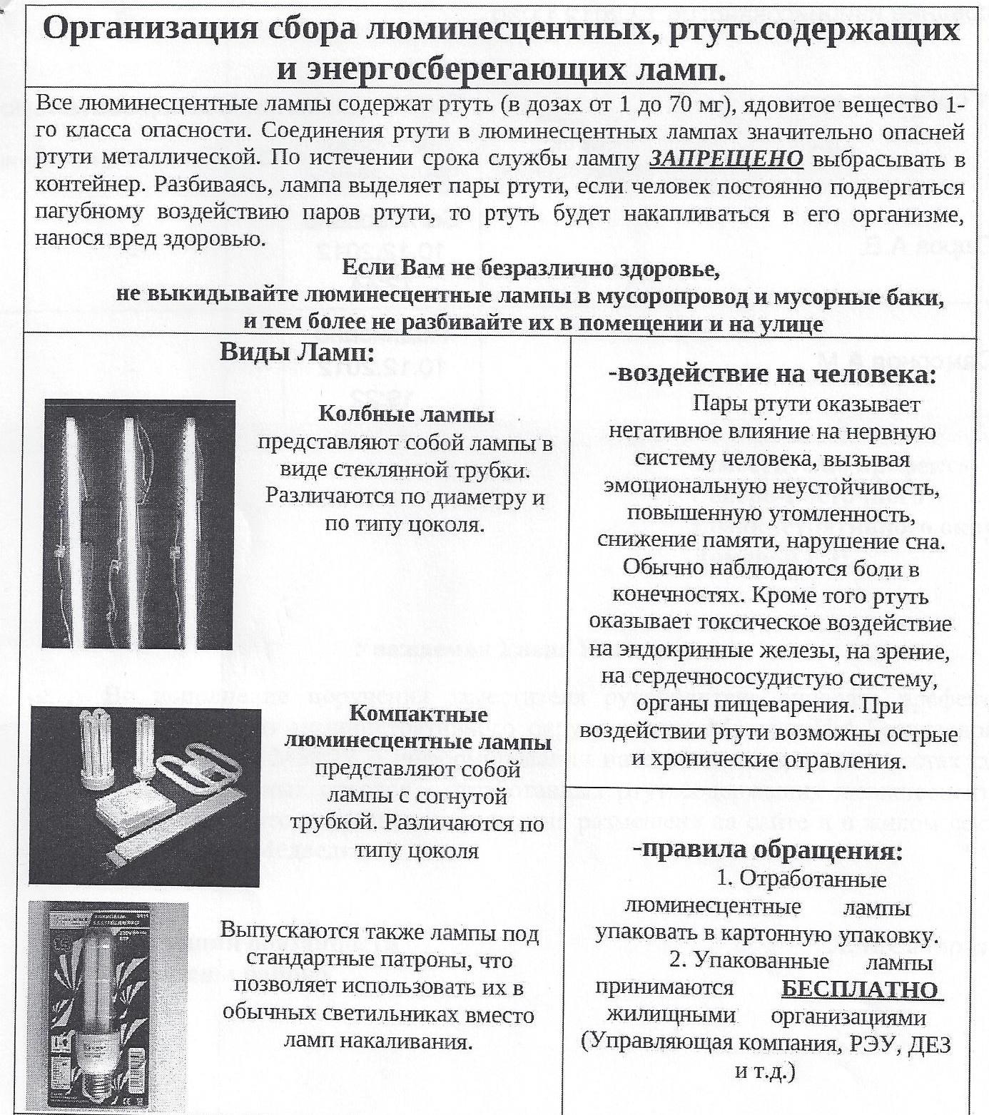 Инструкция по сбору хранению учету сдаче и перевозке отработанных ртутьсодержащих ламп